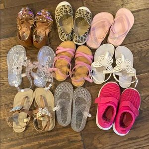 9 pair of toddlers girls summer shoes-sizes 6 & 7